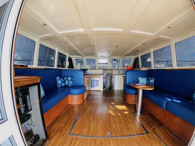 AUSSIE BLUE interior galley kitchen view