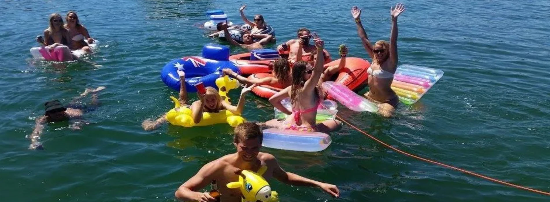 NAUTICA boat charter party swan river people on floaties