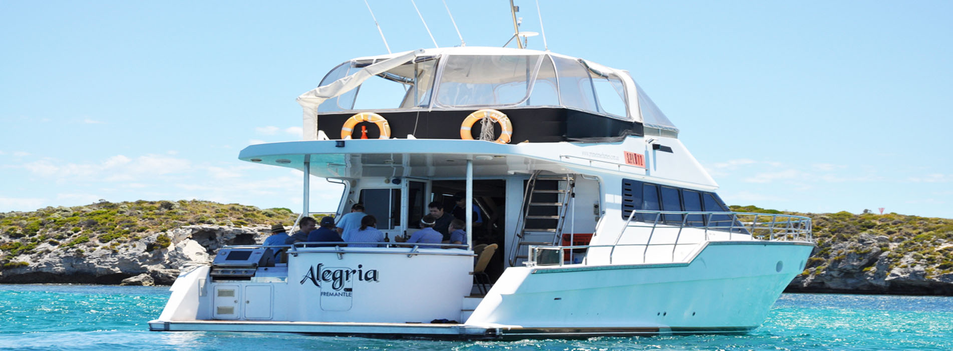 ALEGRIA close up back view boat charters