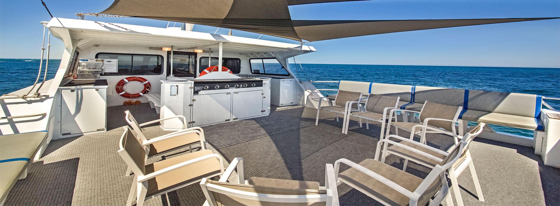 BLUE DESTINY kitchenette on upper deck charters