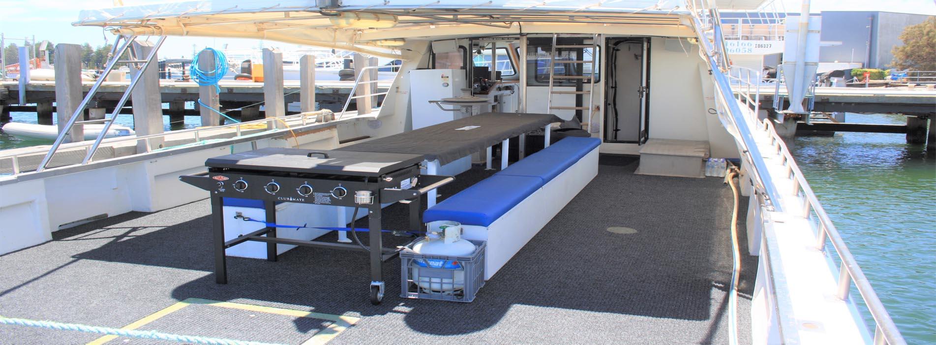 BLUE HORIZON BOAT CHARTER PERTH BACK DECK PHOTO