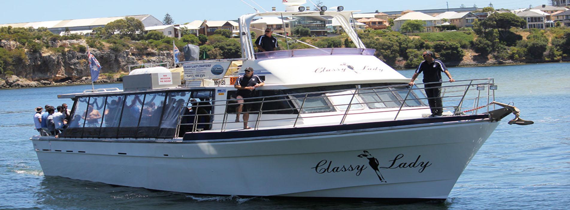CLASSY LADY side profile boat charter swan river