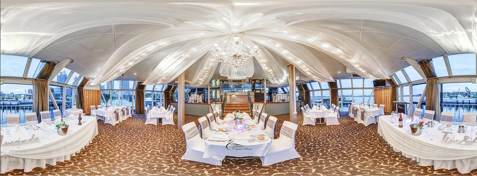 CRYSTAL SWAN BOAT CHARTER DINING MAIN LOUNGE