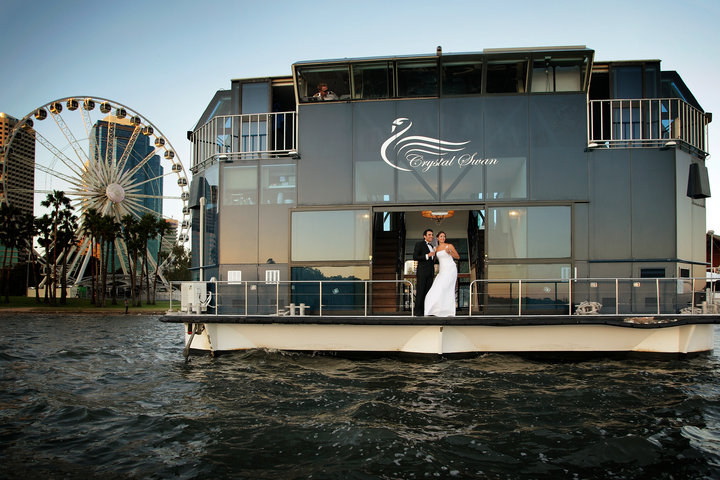 CRYSTAL SWAN wedding couple Perth city backdrop