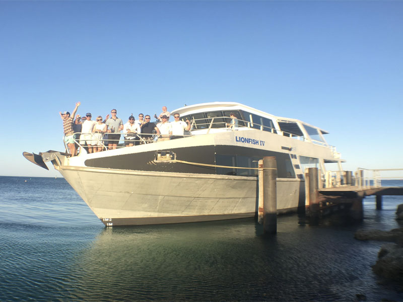 LIONFISH IV charters Perth wa group on bow party boat