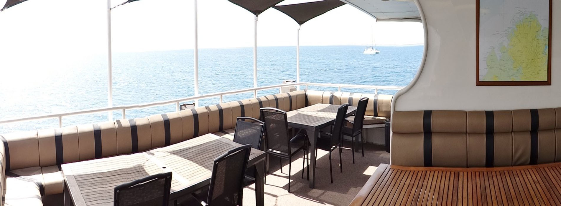 ODYSSEY boat charters perth wa upper deck bar area