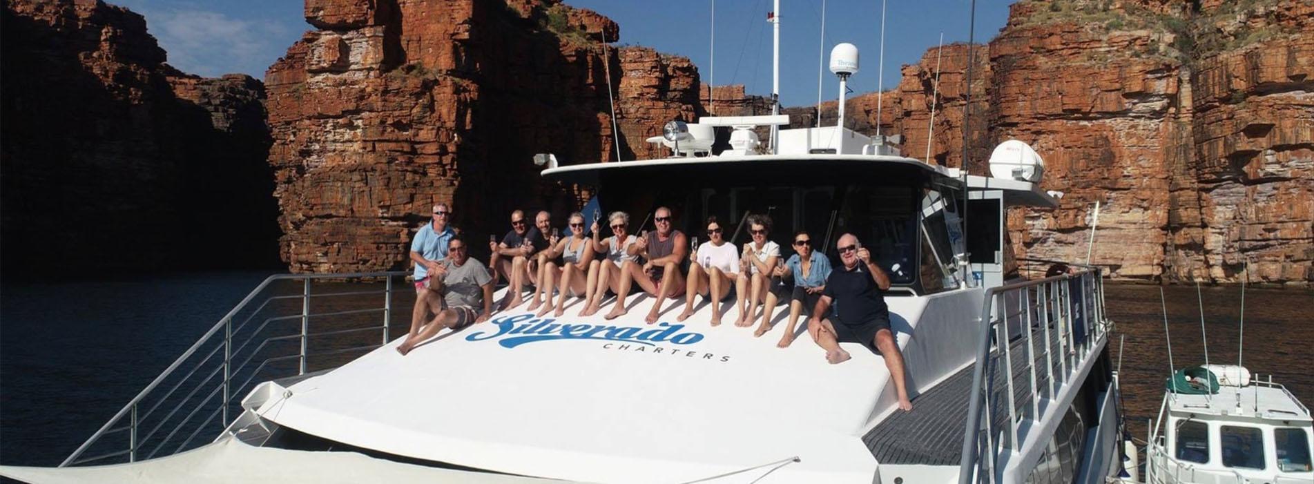 SILVERADO boat charters Perth WA Kimberley cruise people on bow