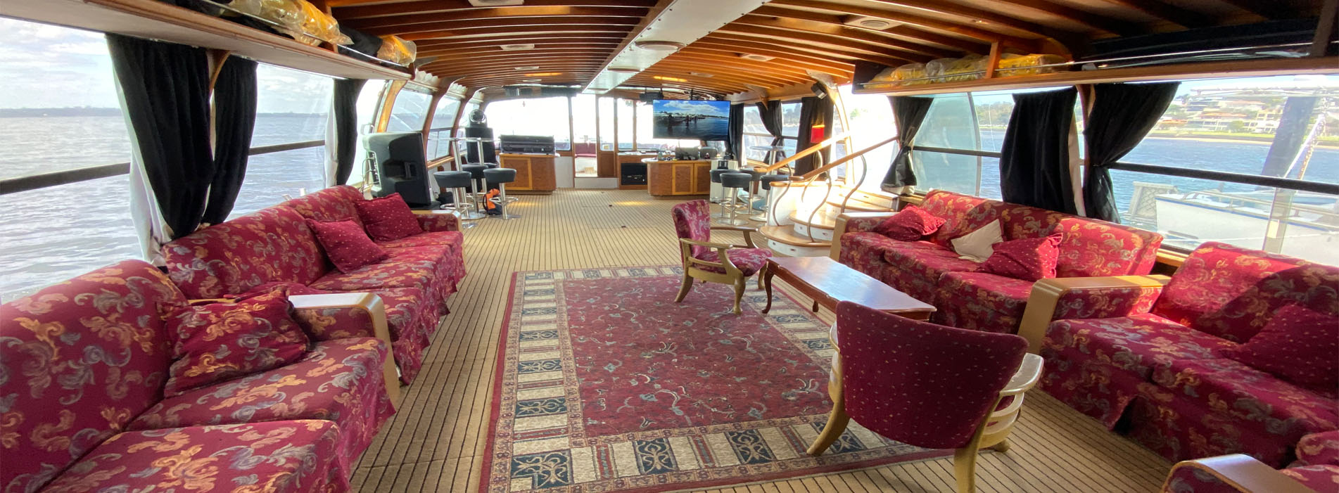 THE DECK interior party boat charters Swan River